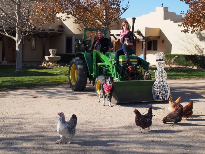 The McGees, animals, tractor, and a snowman for good measure